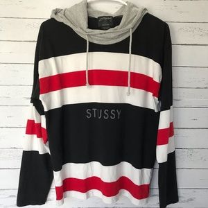 Stussy Rugby Red, White and Black Hoodie